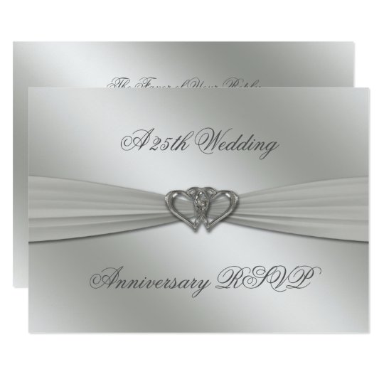 Classic Silver 25th Wedding Anniversary RSVP Card