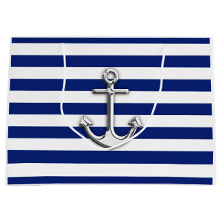 Classic Silver Anchor Large Gift Bag