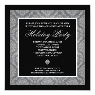 Classic Silver Damask Corporate Holiday Party Card