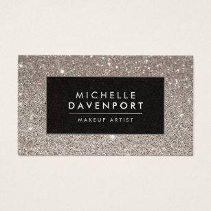 Makeup artist business cards zazzle uk classic silver glitter makeup artist business card reheart Image collections