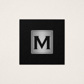 Classic Silver Metallic Label with Monogram Square Business Card