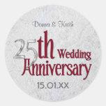 Classic Silver Wedding Anniversary Round Stickers