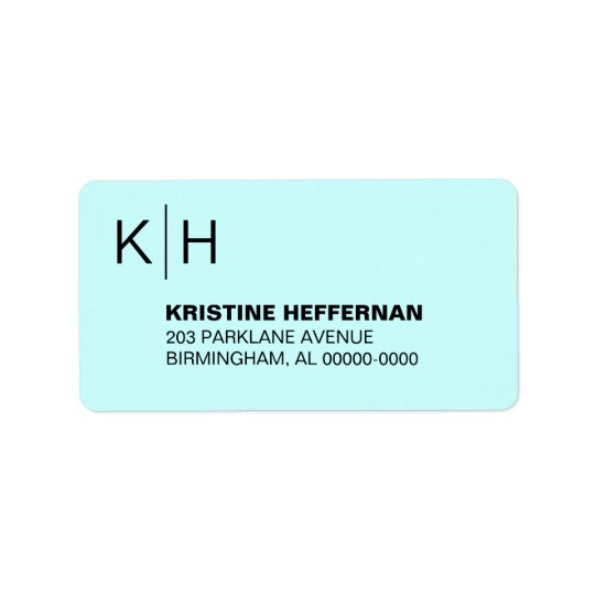 Classic Simple Monogram Address Label
