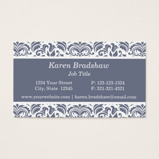 Classic Slate Grey Floral Damask Business Cards
