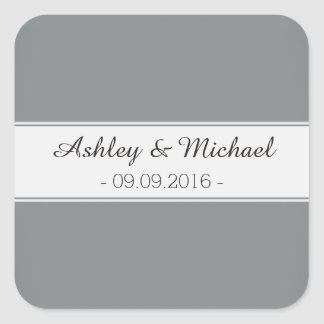 Classic Sleek Silver Save the Date Square Sticker