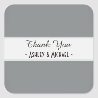 Classic Sleek Silver Thank You Square Sticker