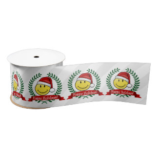 Classic Smiley Face Holiday Style Satin Ribbon