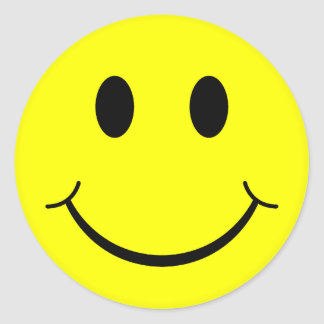 Classic Smiley Face Round Sticker