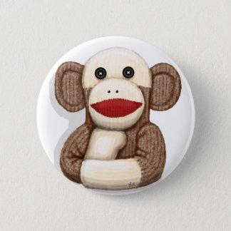Classic Sock Monkey 6 Cm Round Badge
