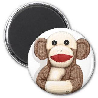 Classic Sock Monkey 6 Cm Round Magnet