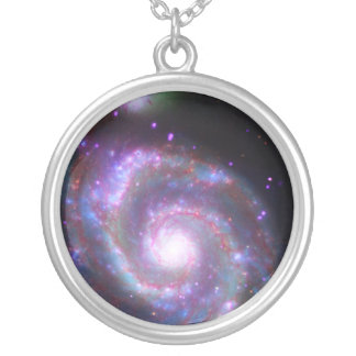 Classic Spiral Galaxy Silver Plated Necklace