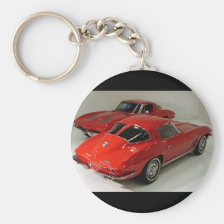 Classic Split Window Cars Basic Round Button Key Ring