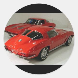 Classic Split Window Cars Round Sticker