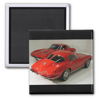 Classic Split Window Cars Square Magnet