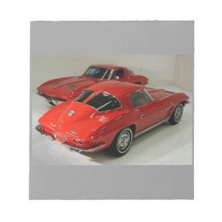 Classic Split Window Red Corvette Notepad