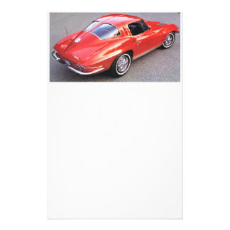 Classic Split Window Red Corvette Stationery