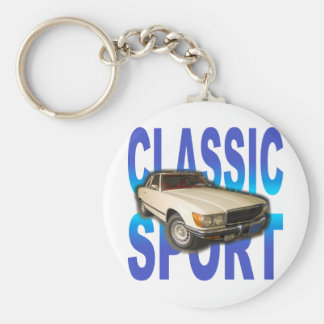 classic sports car basic round button key ring