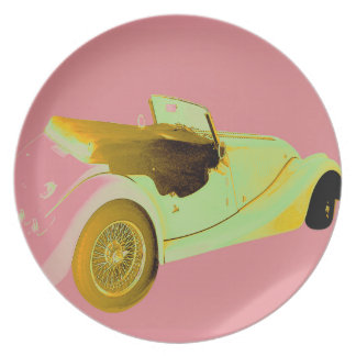 Classic Sports Car Party Plate
