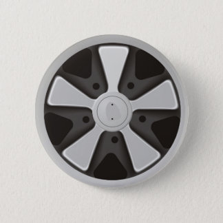 Classic sports car racing wheel used on 911 6 cm round badge