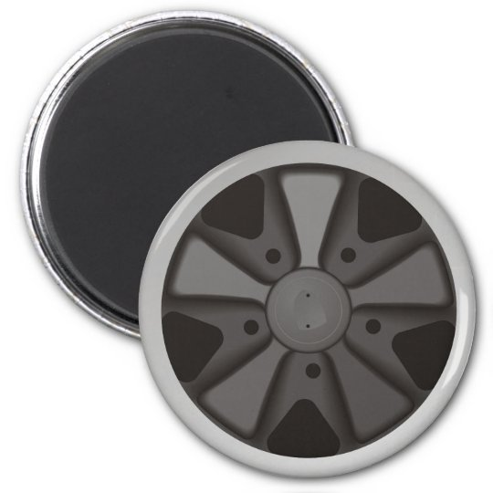 Classic sports car racing wheel used on 911 6 cm round magnet