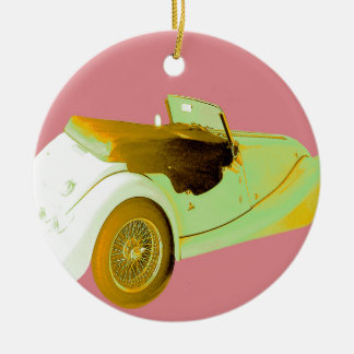 Classic Sports Car Round Ceramic Decoration
