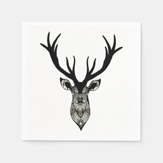 Classic Stag Deer Head Black Grey Animal Disposable