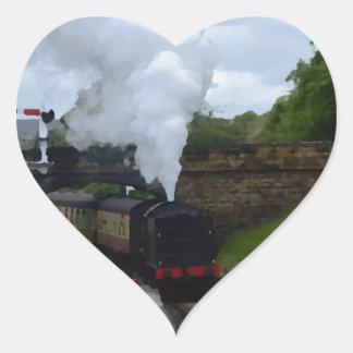 Classic Steam Train Heart Sticker