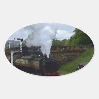 Classic Steam Train Oval Sticker