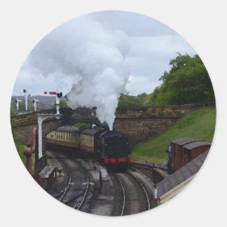 Classic Steam Train Round Sticker