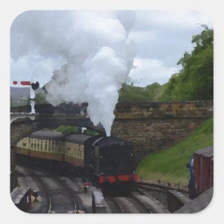 Classic Steam Train Square Sticker