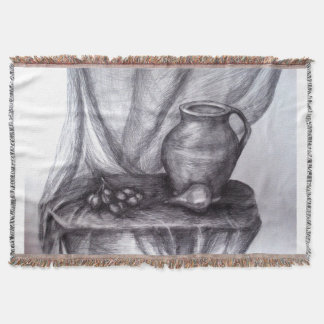 Classic Still Life Pencil Drawing Throw Blanket