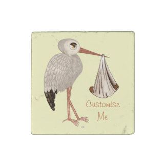 Classic Stork (Neutral) 2 Stone Magnet