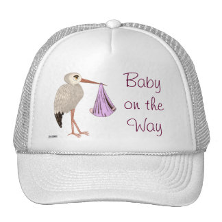 Classic Stork (Pink) (Baby Shower) Mesh Hats