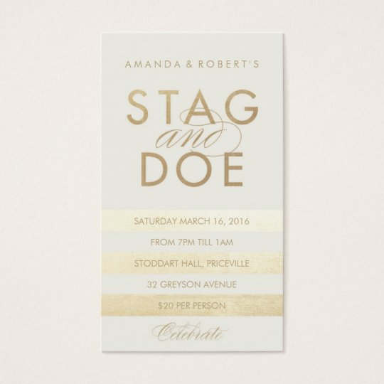Classic Stripe Stag & Doe Ticket, Gold Business