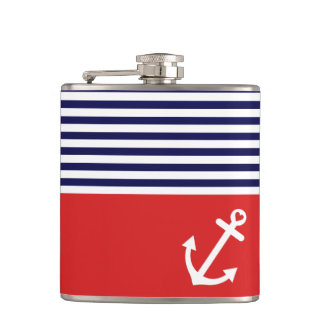 Classic Stripes Nautical Love Hip Flask