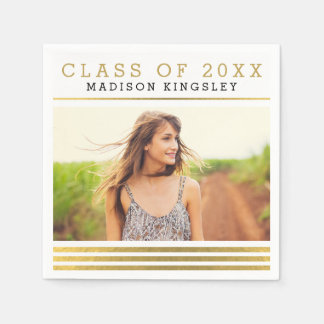 Classic Stripes Photo Graduation Napkins Paper Napkin