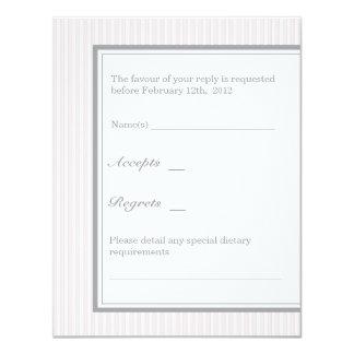 Classic Stripes RSVP (Pink) 11 Cm X 14 Cm Invitation Card