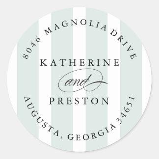 Classic Stripes Wedding Monogram Address Label Round Sticker