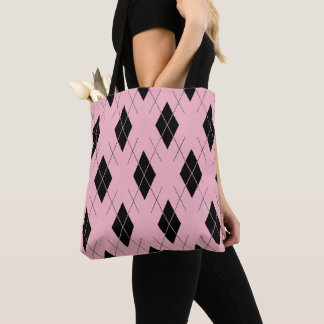 Classic-Style-Argyle-Totes_Bag''s_Multi-Style'-Pnk Tote Bag