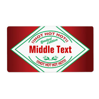 Classic Style Hot Hot Hot Chilli Label Red