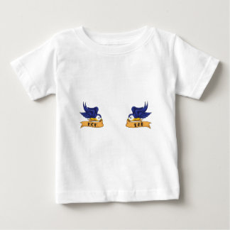 "Classic Swallows With ""Mom"" and ""Dad"" Banners Baby T-Shirt"