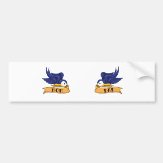 "Classic Swallows With ""Mom"" and ""Dad"" Banners Bumper Sticker"