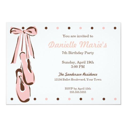 Classic Sweet Pink Ballet Shoe Invitation