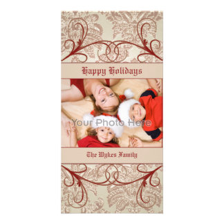 Classic swirl christmas photocard photo greeting card