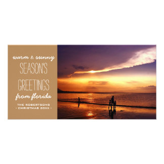 Classic Tan Holiday Christmas Greetings in the Sun Photo Card Template