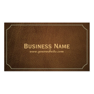 Classic Tan Leather Funeral Business Card