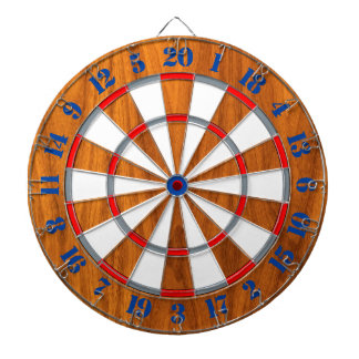 Classic Teak Veneer Print Nautical Game of Darts Dartboard