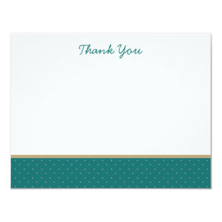 Classic Teal Polka Dot Thank You Note Cards 11 Cm X 14 Cm Invitation Card