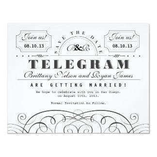 Classic Telegram Save the Date 11 Cm X 14 Cm Invitation Card