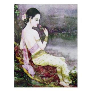 classic thai print postcard